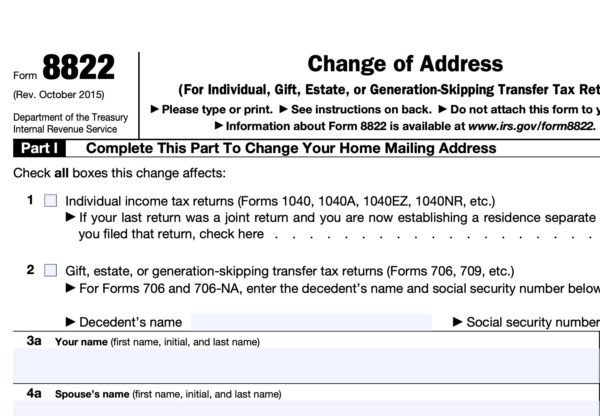 How to Change Address with IRS - Form 8822 cutout